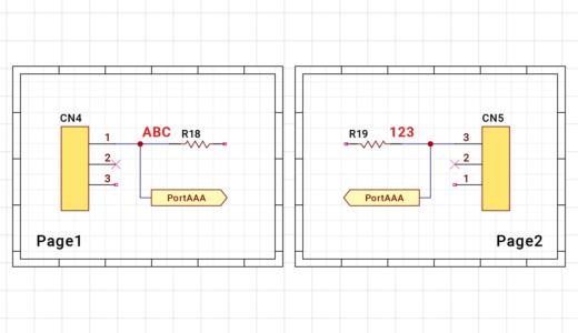 同・複数ページへのラベル/ポート接続